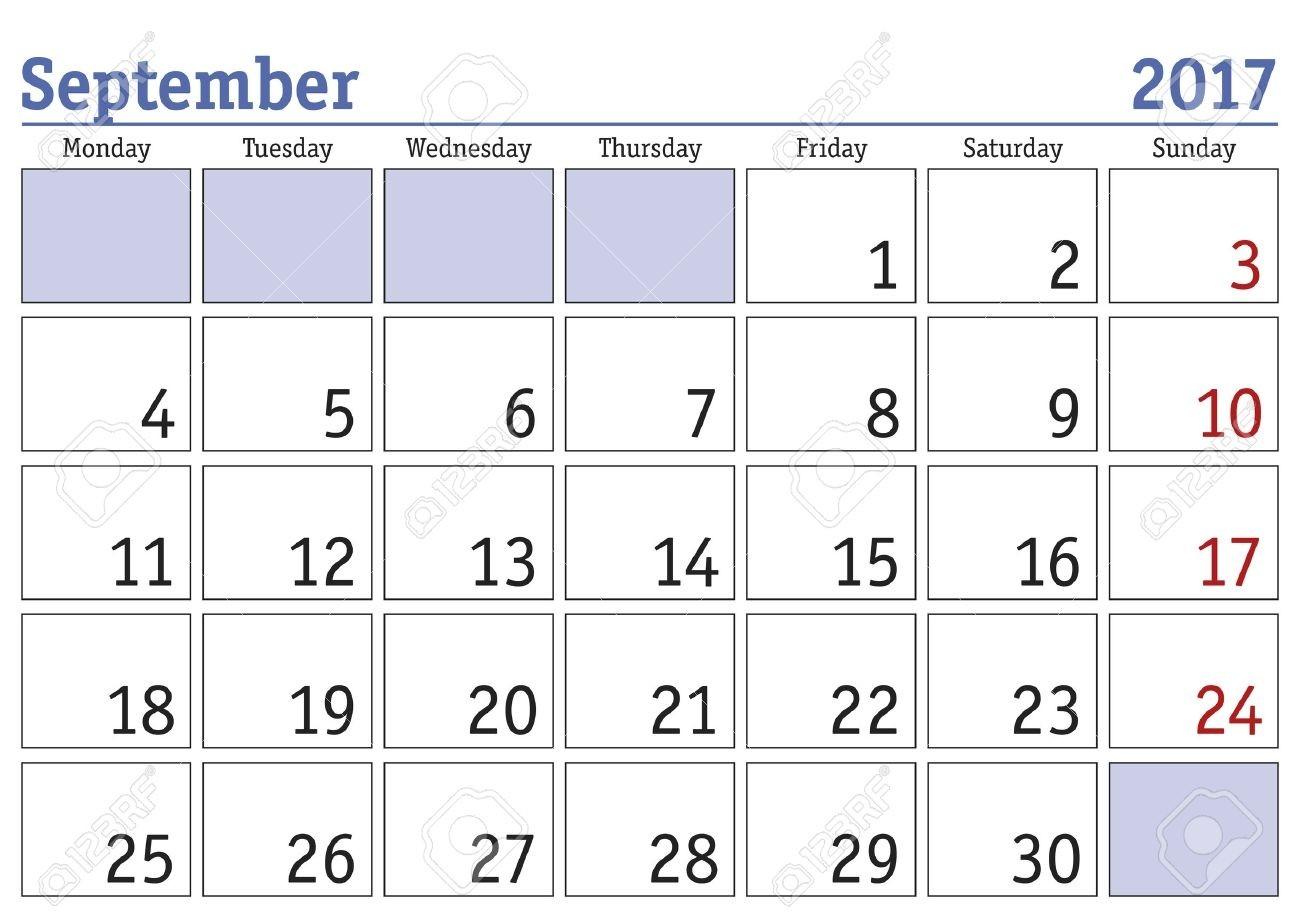 Simple Digital Calendar For September 2017. Vector Printable..-Blank September Calendar Monday Start