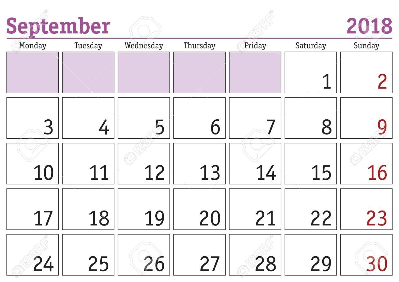 Simple Digital Calendar For September 2018. Vector Printable..-Monthly Calendar Monday Start Week