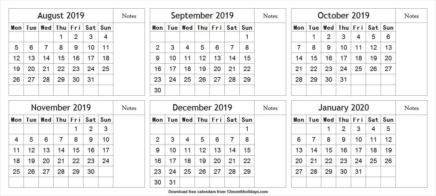 Six Month August 2019 January 2020 Calendar | Cute Calendar-2020 Six Month Calendar Template
