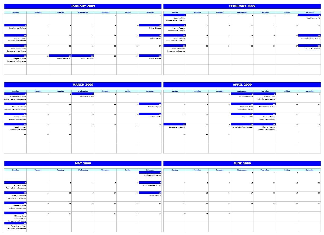 Six-Monthly Calendar-Six Month Calendar Template