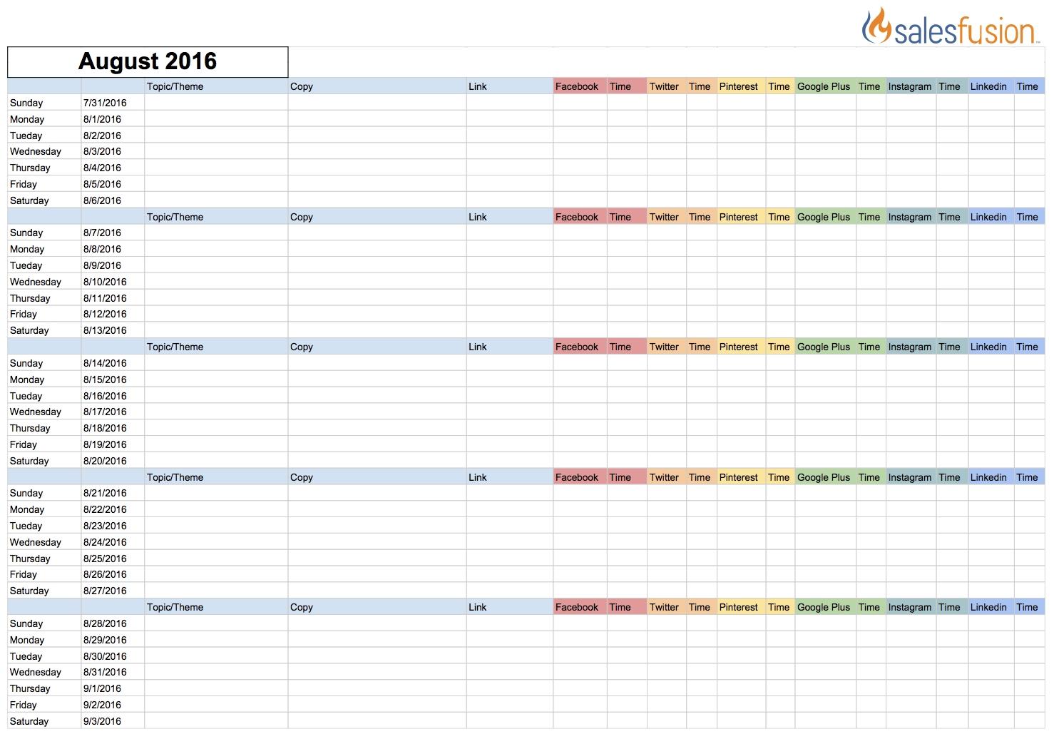 Social Media Content Calendar Template | Salesfusion-Social Media Posting Calendar Template