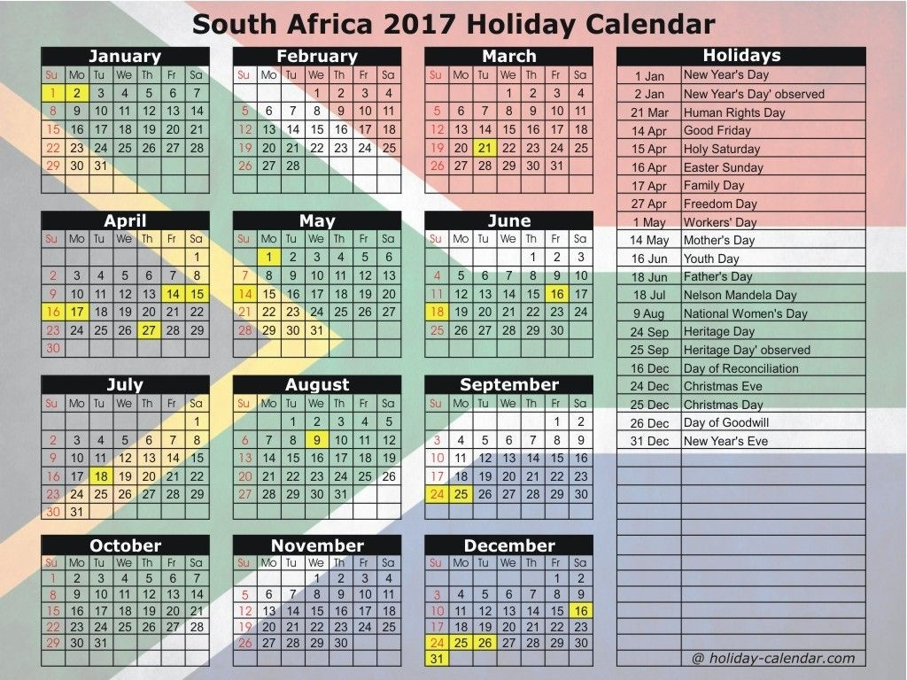 South Africa 2017 Holiday Calendar | Calender 2017 | Holiday-Public Holidays South Africa