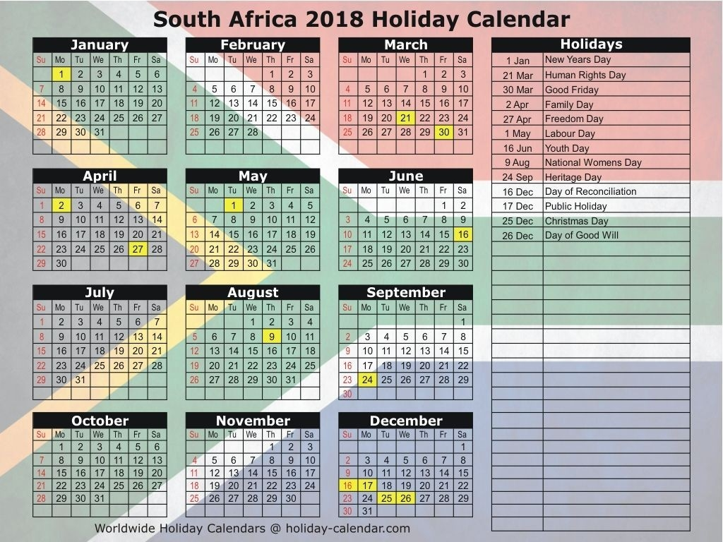 South Africa 2018 Holiday Calendar   Kalender   Holiday-South Africa Public Holidays Calendar
