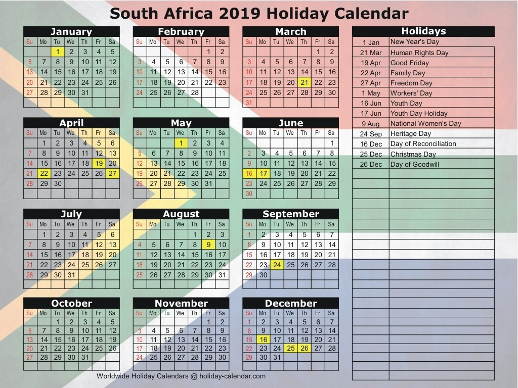 South Africa 2019 / 2020 Holiday Calendar-Public Holidays South Africa 2020