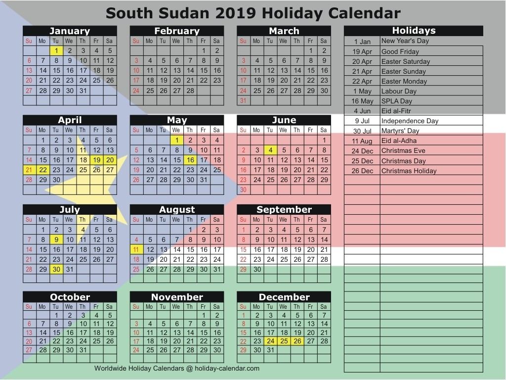 South Sudan 2019 / 2020 Holiday Calendar-Sa 2020 Public Holidays