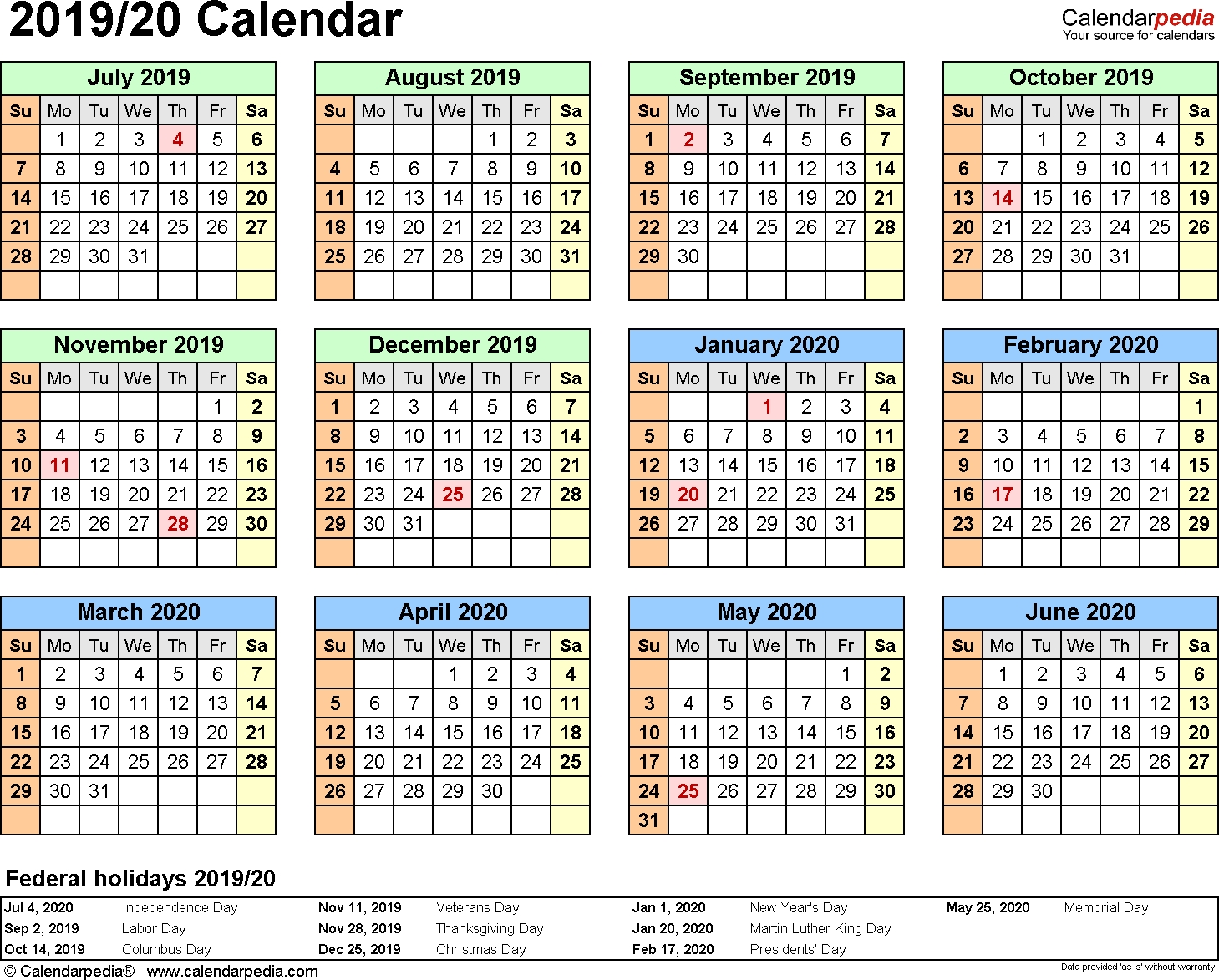 Split Year Calendar 2019/20 (July To June) - Pdf Templates-January To July 2020 Calendar