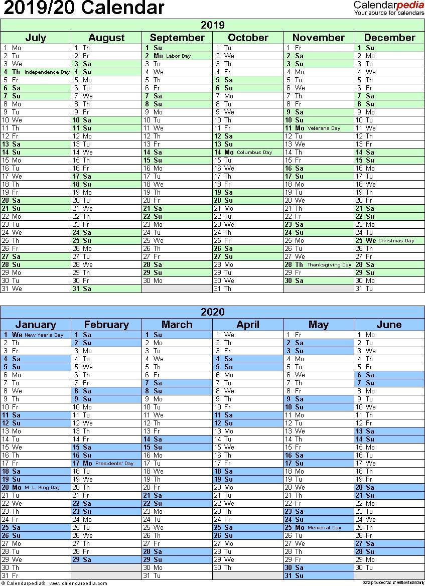 Split Year Calendar 2019/20 (July To June) - Word Templates-6 Month Calendar 2020 July Dec Template