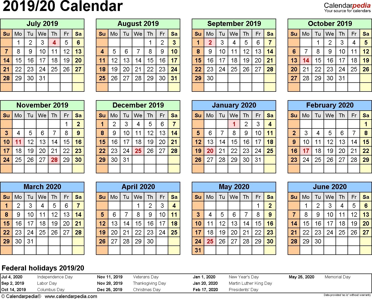 Split Year Calendar 2019/20 (July To June) - Word Templates-Template Of 2020 August Thru Dec Calendar