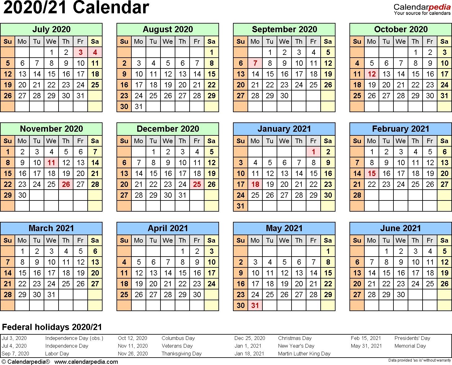 Split Year Calendar 2020/21 (July To June) - Word Templates-Microsoft Calendar Templates 2020