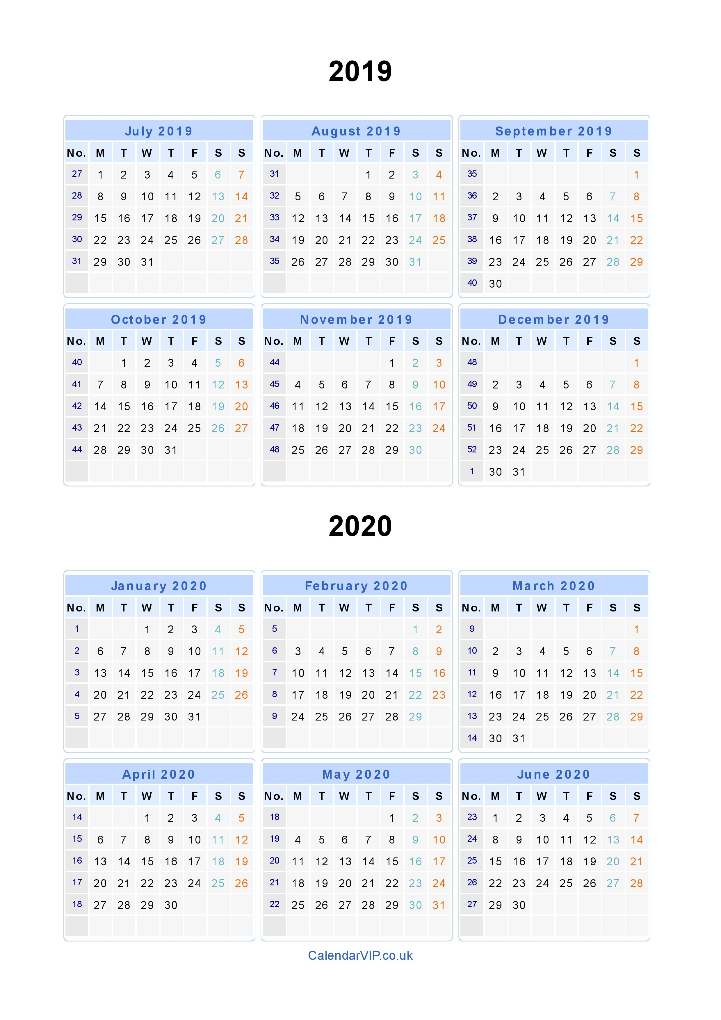 Split Year Calendars 2019 2020 - Calendar From July 2019 To-January 2020 Yearly Calendar