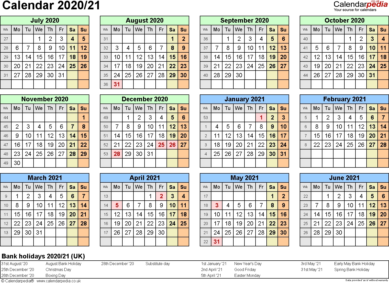 Split Year Calendars 2020/21 (July To June) For Pdf (Uk Version)-January 2020 Calendar Nz