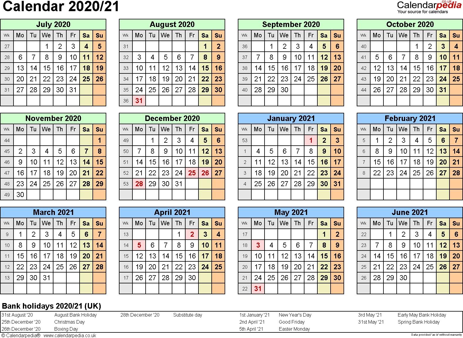 Split Year Calendars 2020/21 (July To June) For Pdf (Uk Version)-Nz School Holidays 2020 Calendar