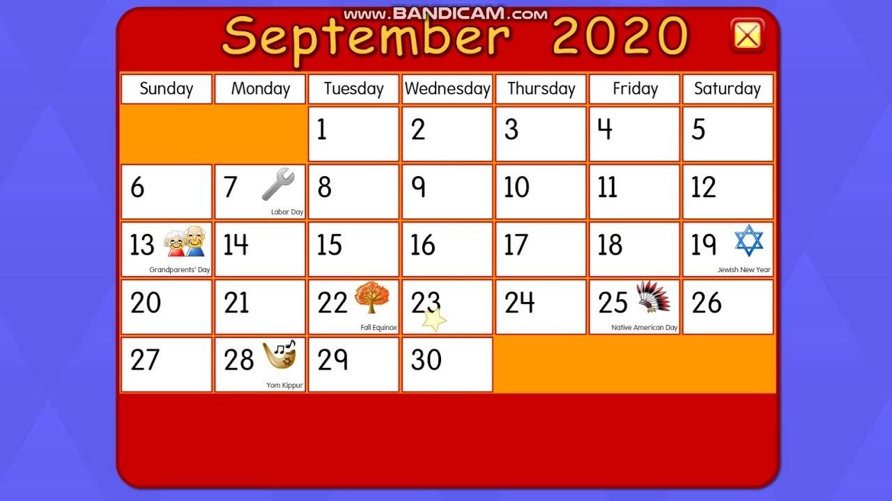 Starfall Calendar September 1, 2020-Starfall Calendar January 2020
