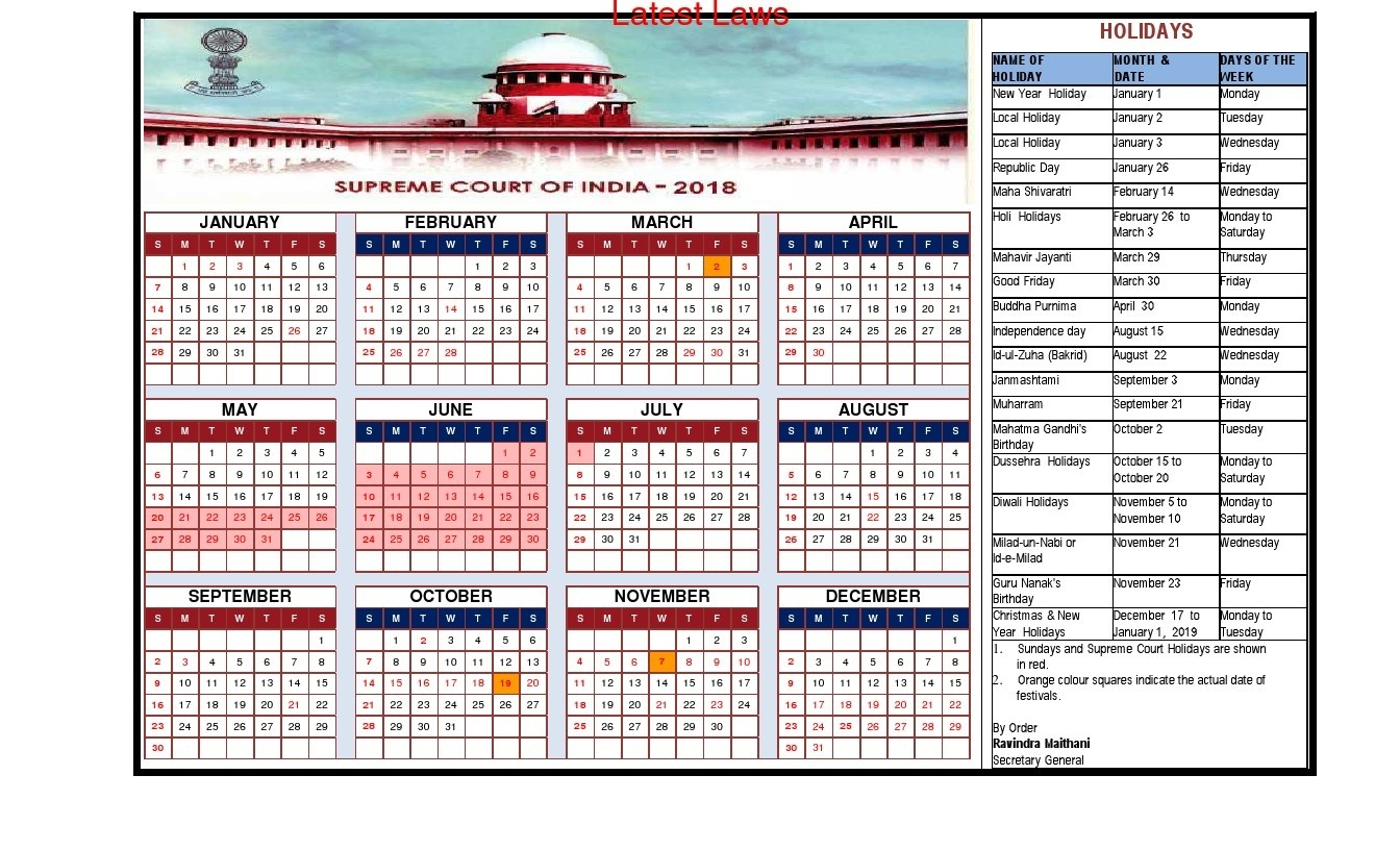 Supreme Court Releases Its 2018 Calendar And List Of Holidays-Tamilnadu Holidays By Month