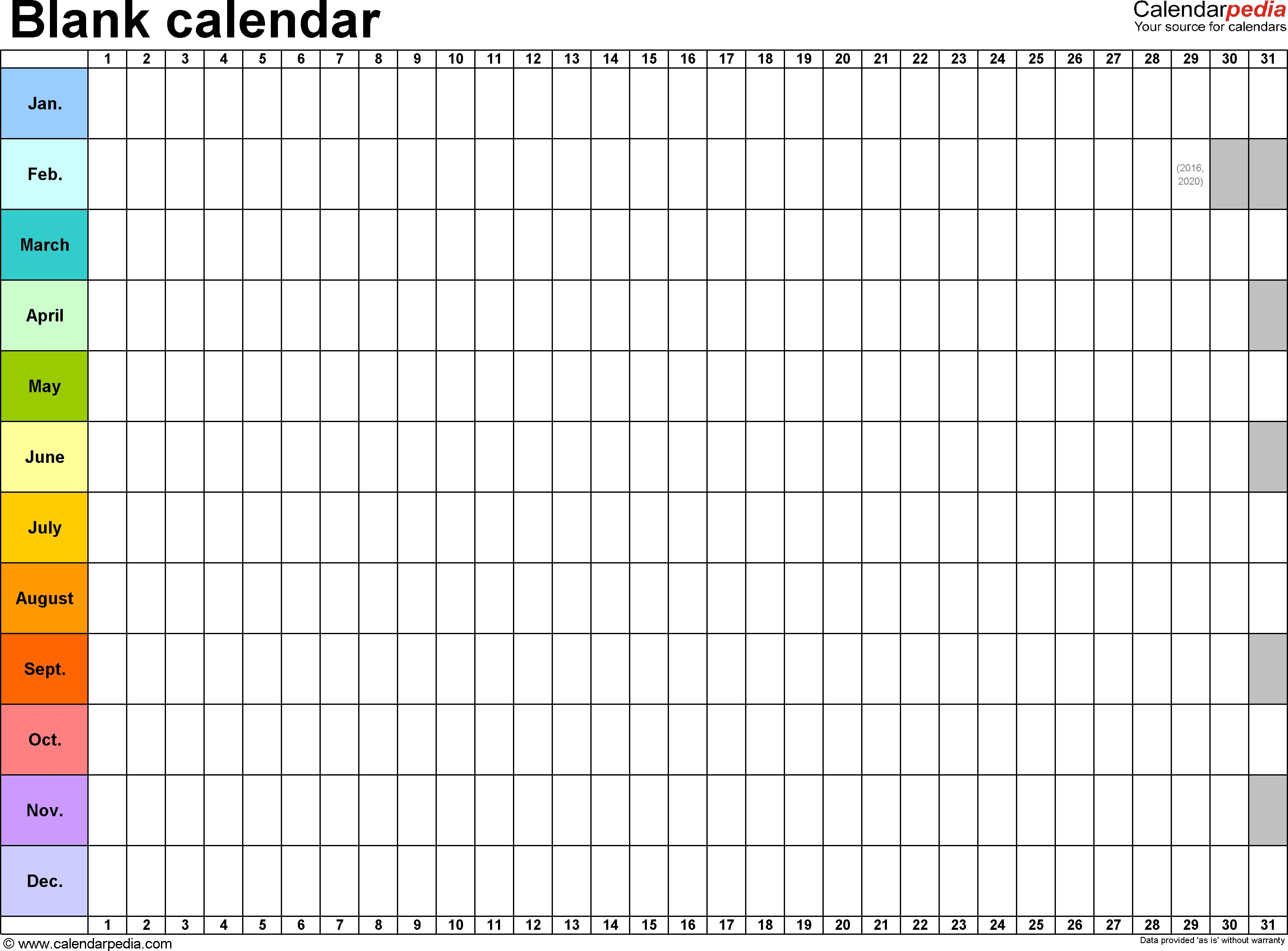 Template 2: Excel Template For Blank Calendar (Landscape-2 Page Monthly Calendar Excel
