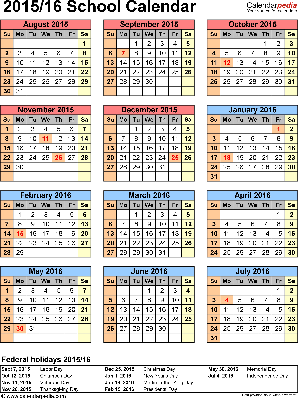 Template 6: School Calendar 2015/16 For Word, Portrait-School Calendar Blank At A Glance