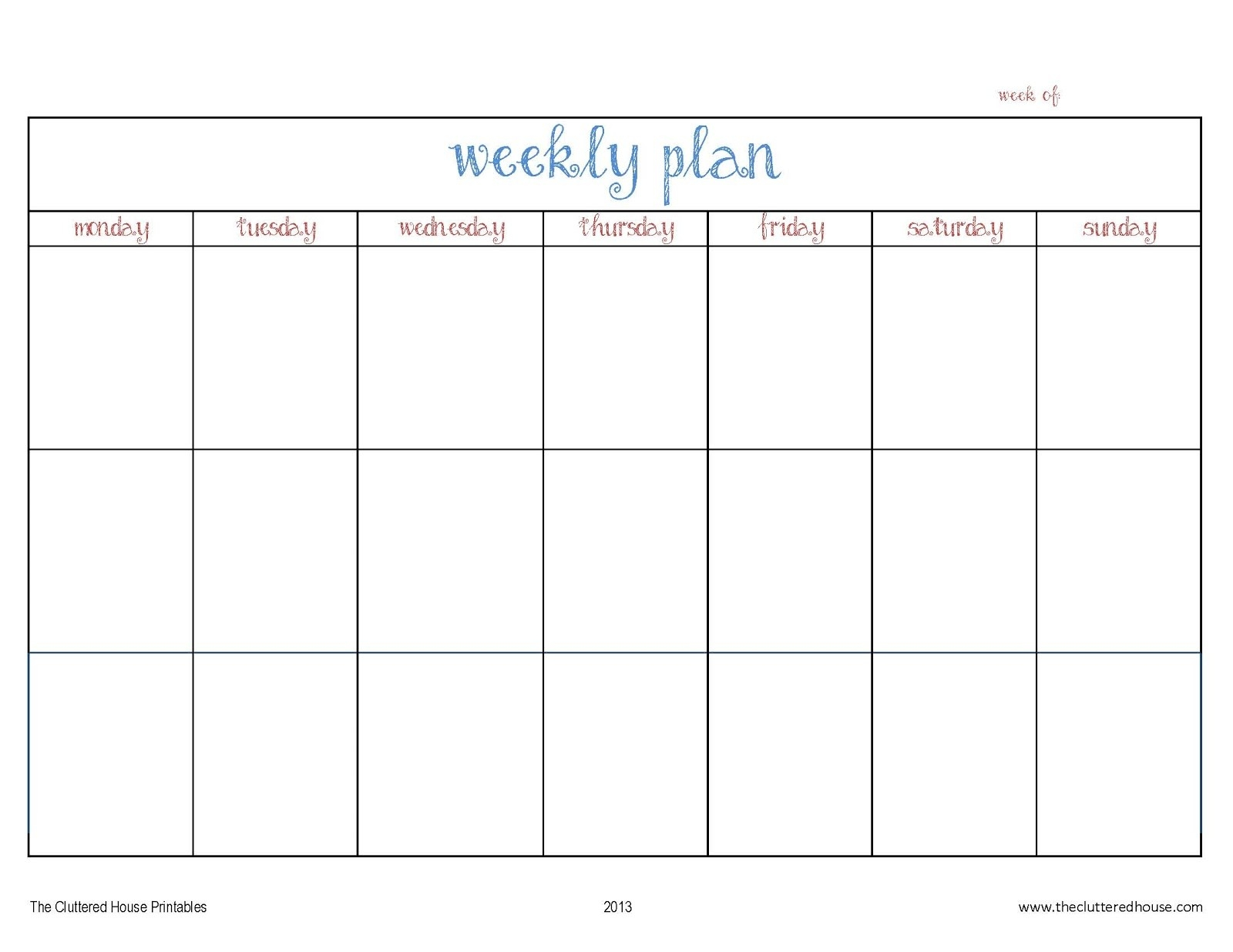 The Cluttered House: Weekly Planner Printable-Monday Through Friday Planning Template