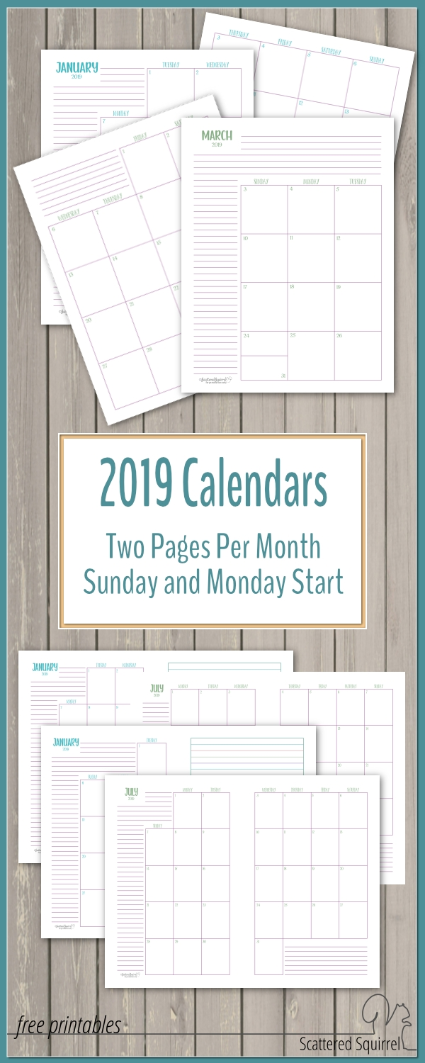 The Two Pages Per Month 2019 Calendars Are Ready-Scattered Squirrel Monthly Calendar