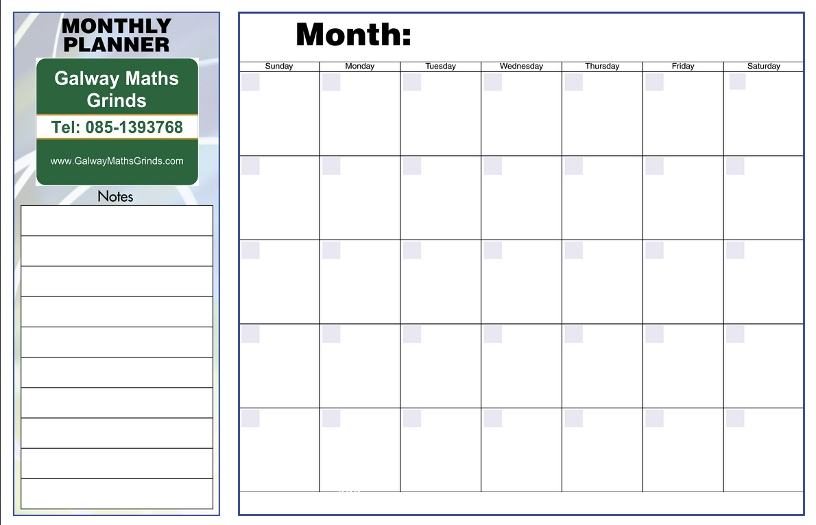 Time Table Templates | Galway Maths Grinds-Studying Monthly Calendar Template