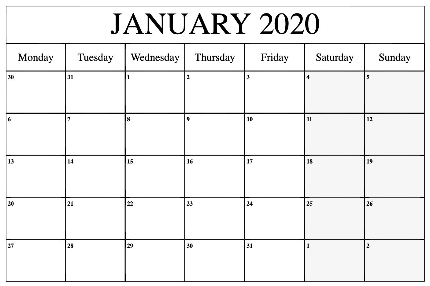 Top January 2020 Calendar Pdf, Word, Excel Template-January 2020 Calendar In Excel
