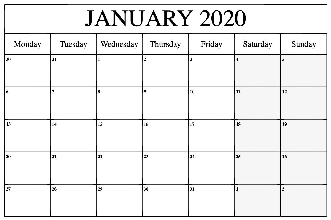 Top January 2020 Calendar Pdf, Word, Excel Template-January 2020 Calendar In Excel