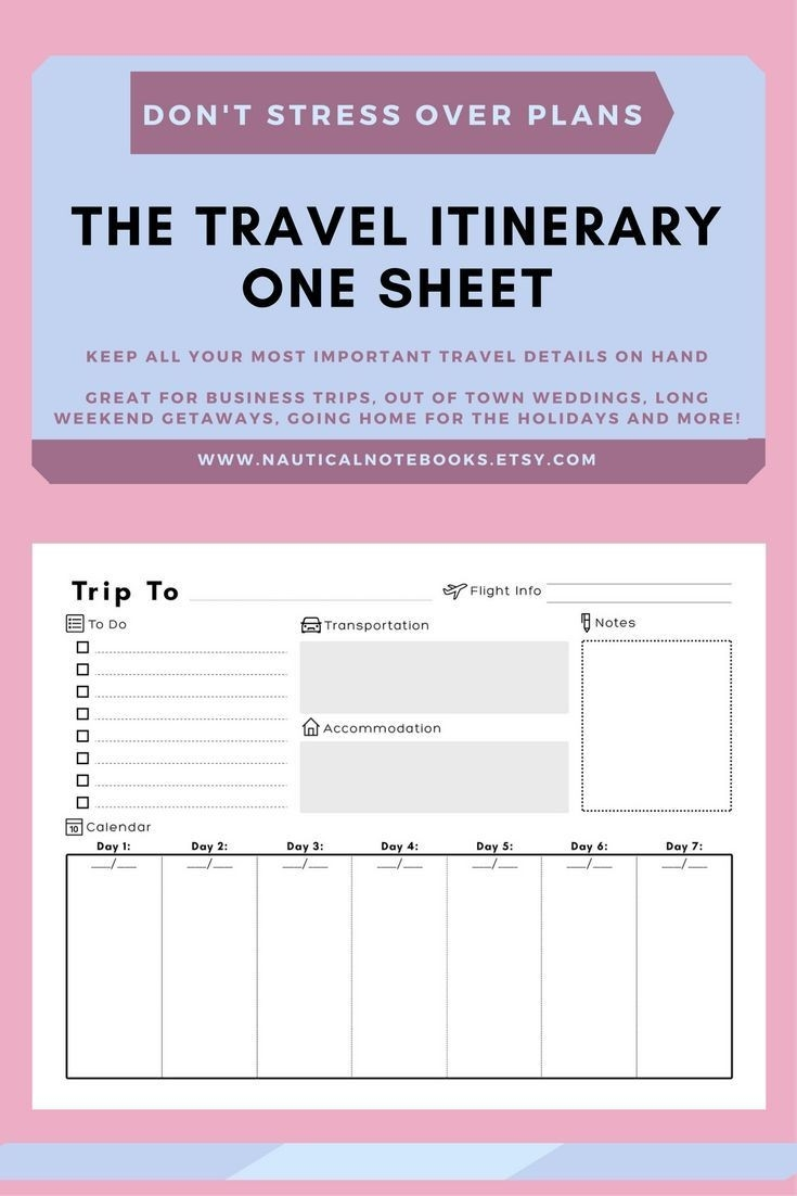 Travel Itinerary Template | Family Travel Planner-Disney Week Blank Itinerary