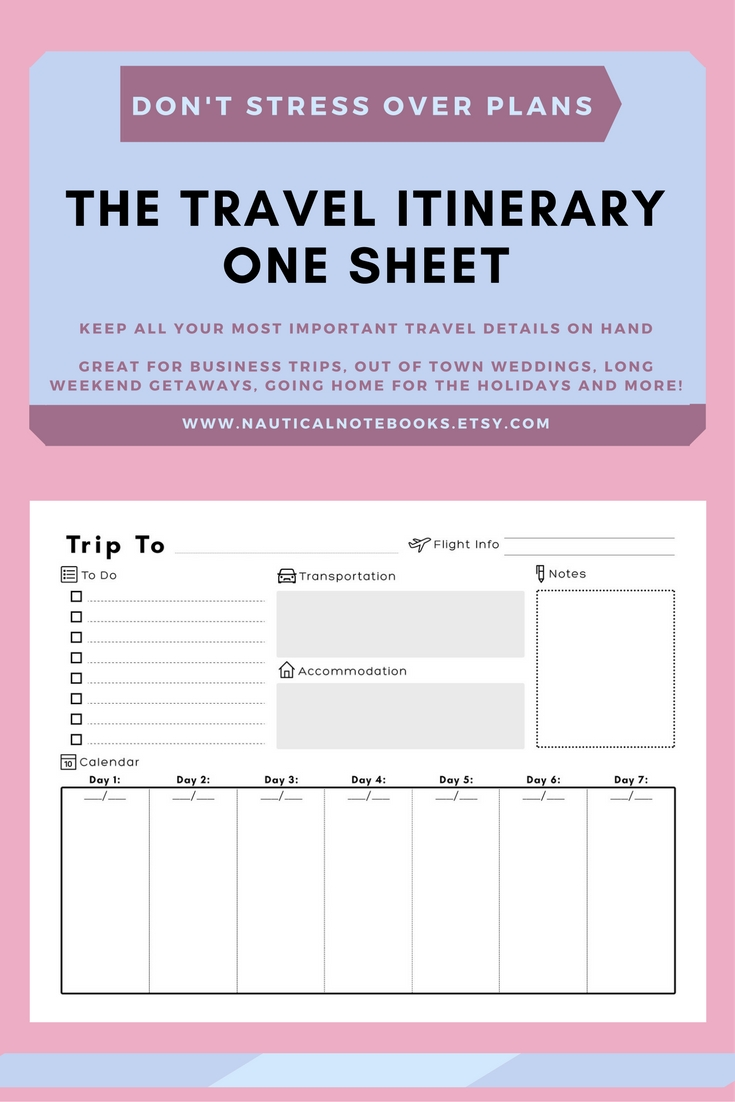 Travel Itinerary Template | Family Travel Planner-Fillable Itinerary Template Disney
