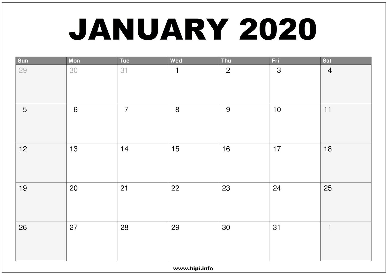 Twitter Headers / Facebook Covers / Wallpapers / Calendars-January 2020 Calendar Wallpaper