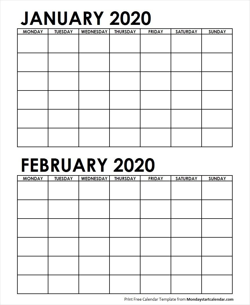 Two Month January February 2020 Calendar Blank-2020 Calendar January And February