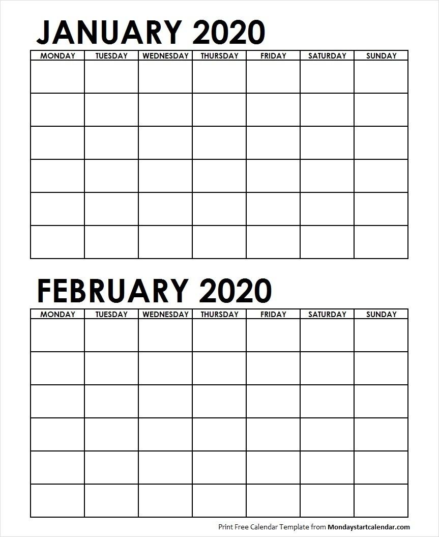Two Month January February 2020 Calendar Blank-January Feb 2020 Calendar