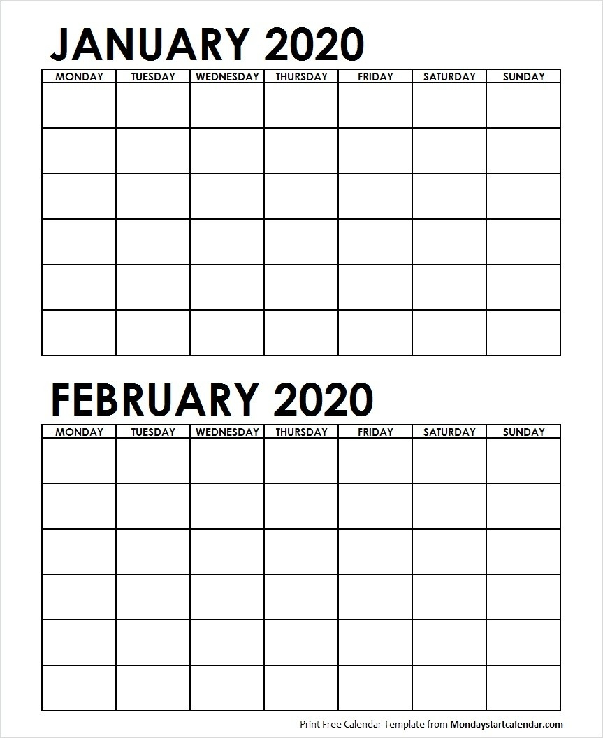 Two Month January February 2020 Calendar Blank-January February 2020 Calendar