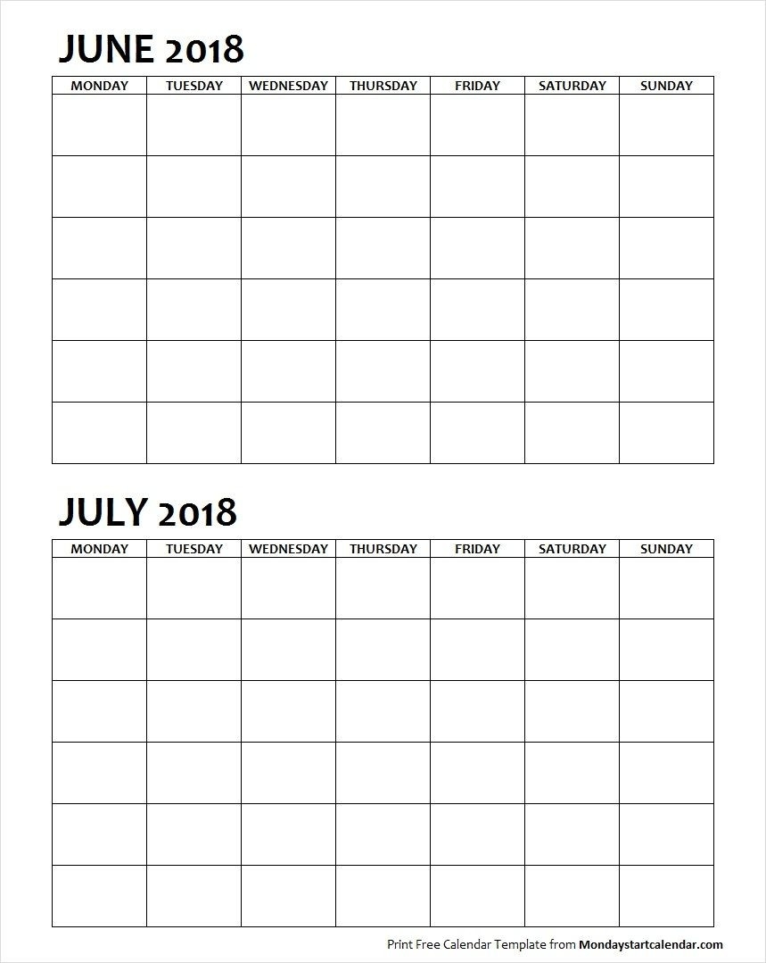 Two Month June July 2018 Calendar Blank | June 2018-Blank 2 Month Calendar Template