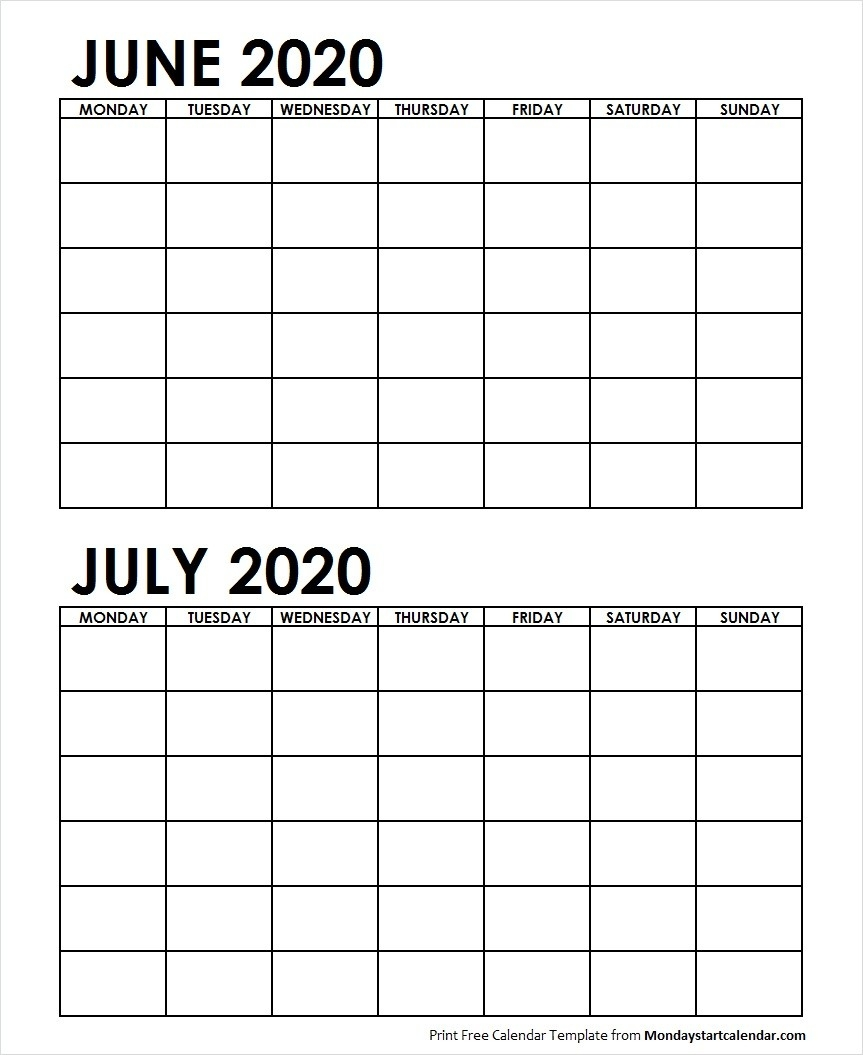 Two Month June July 2020 Calendar Blank | Two Months Template-Blank Calendar June-July 2020