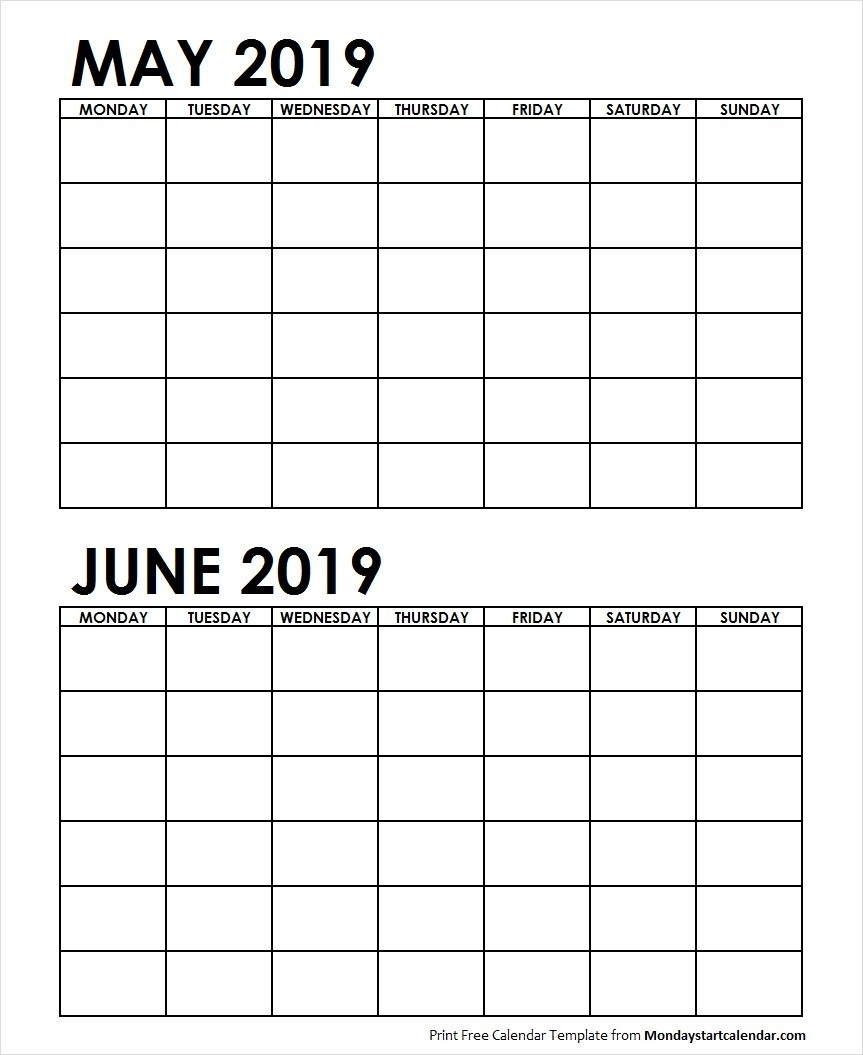Two Month May June 2019 Calendar Blank | Two Months Template-Blank 2 Month Calendar Template