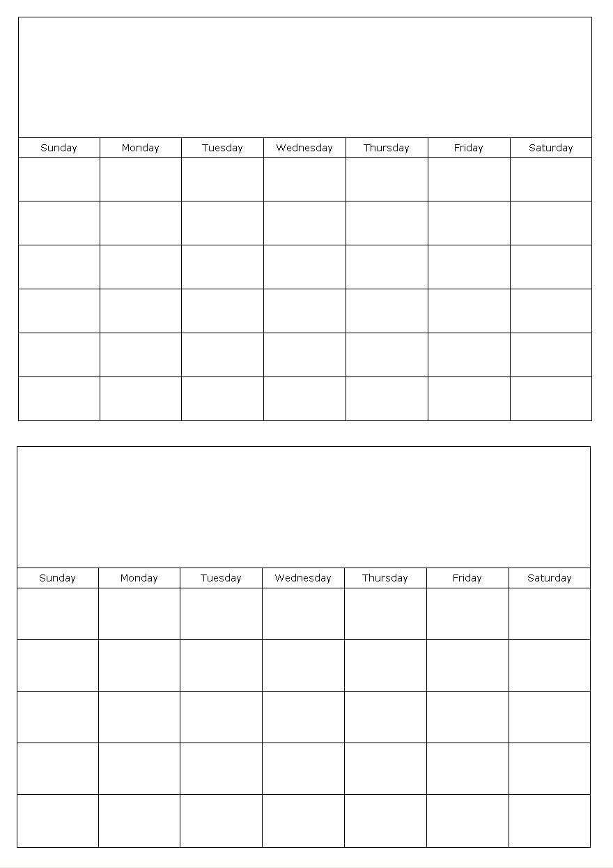Two Months On A Page Blank Calendar Template-Two Paged Blank Printable Calendar