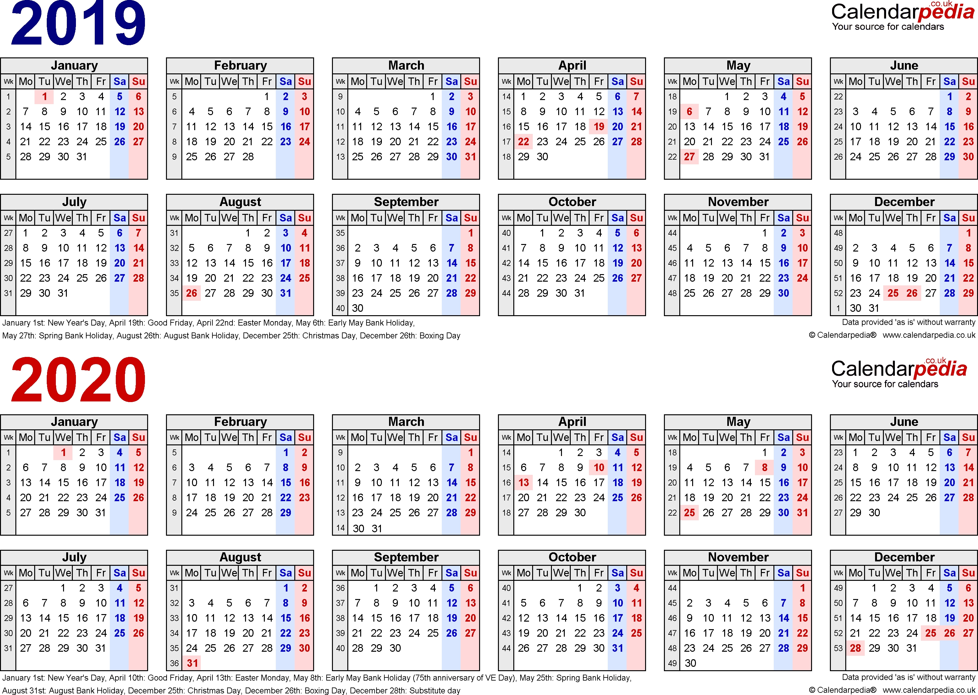 Two Year Calendars For 2019 & 2020 (Uk) For Pdf-Europe Holidays 2020 Calendar
