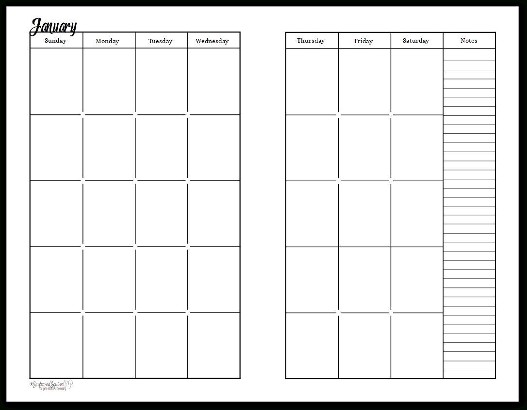 Undated Black And White Calendars Featuring Two Pages Per Month-2 Page Calendar Template