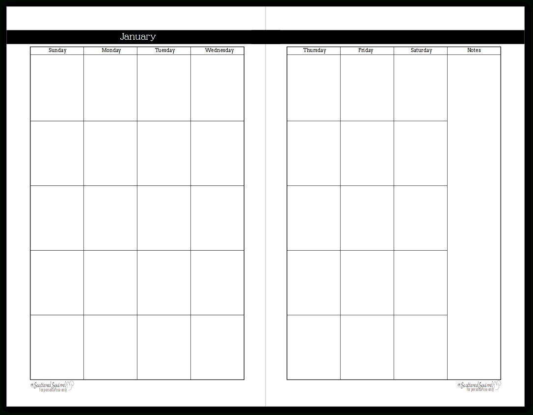 Undated Black And White Calendars Featuring Two Pages Per Month-2 Page Monthly Calendar