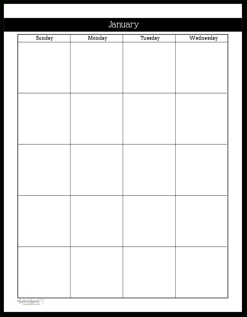 Undated Black And White Calendars Featuring Two Pages Per Month-Free Printable Two Page Monthly Calendar