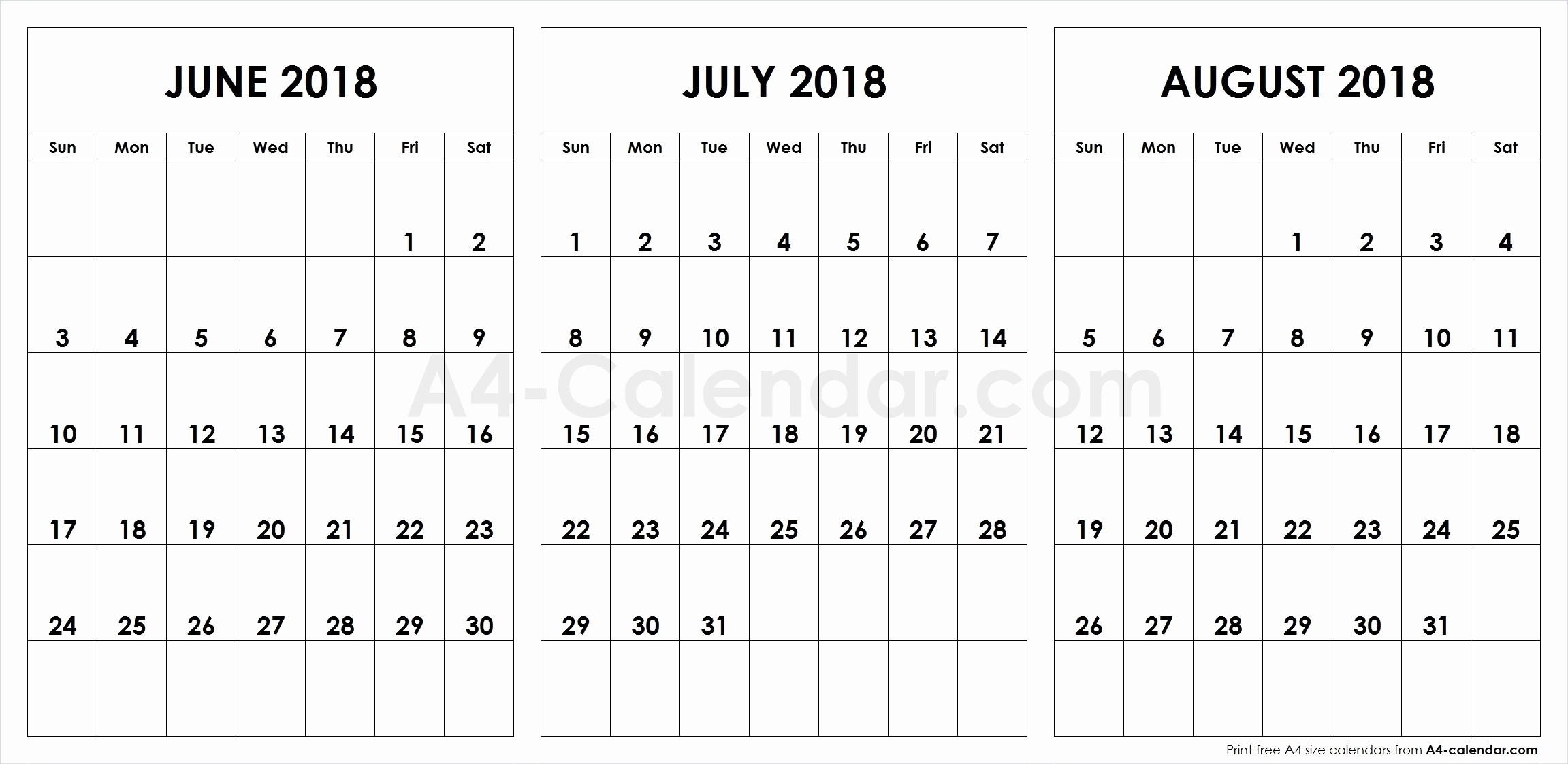 Unique 45 Illustration June July And August Printable-June July & August Blank Calendar