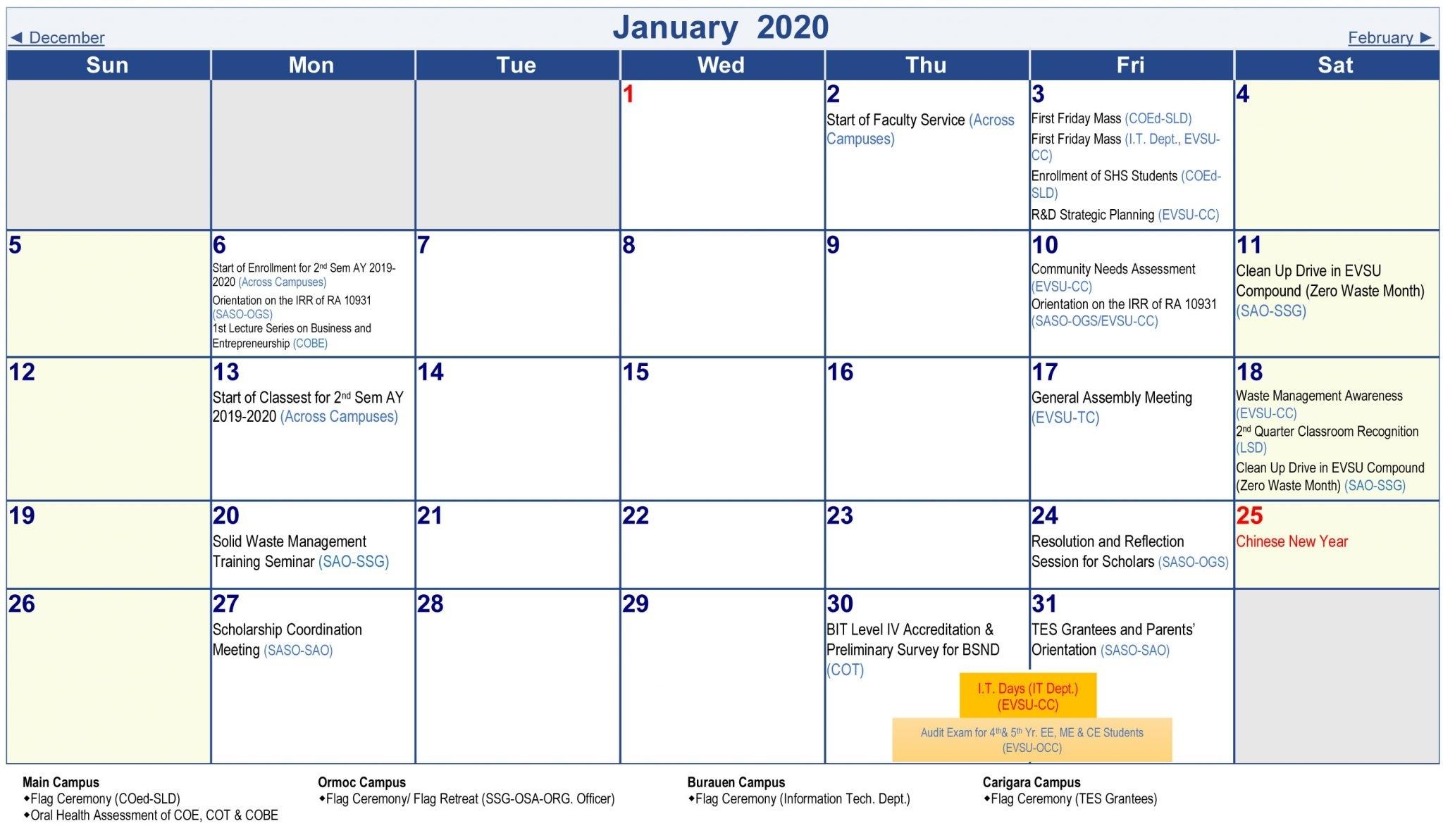 University Academic Calendar (A.y. 2019-2020)-January 2020 Regents Calendar