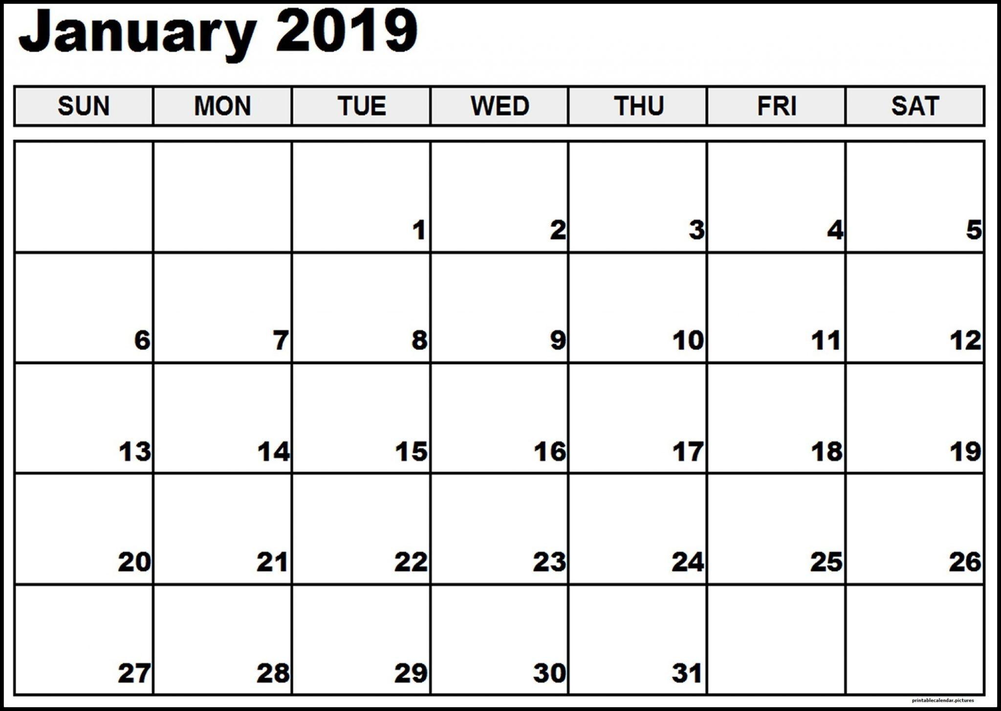 Vertex January Calendar 2019 Printable   January 2019-Calender Template By Vertex