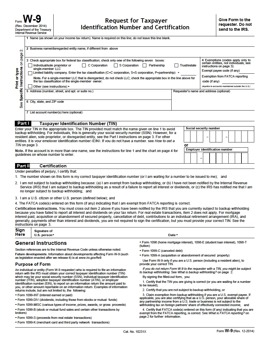 W-9 Request For Taxpayer Identification Number And-Order Blank W-9 Forms