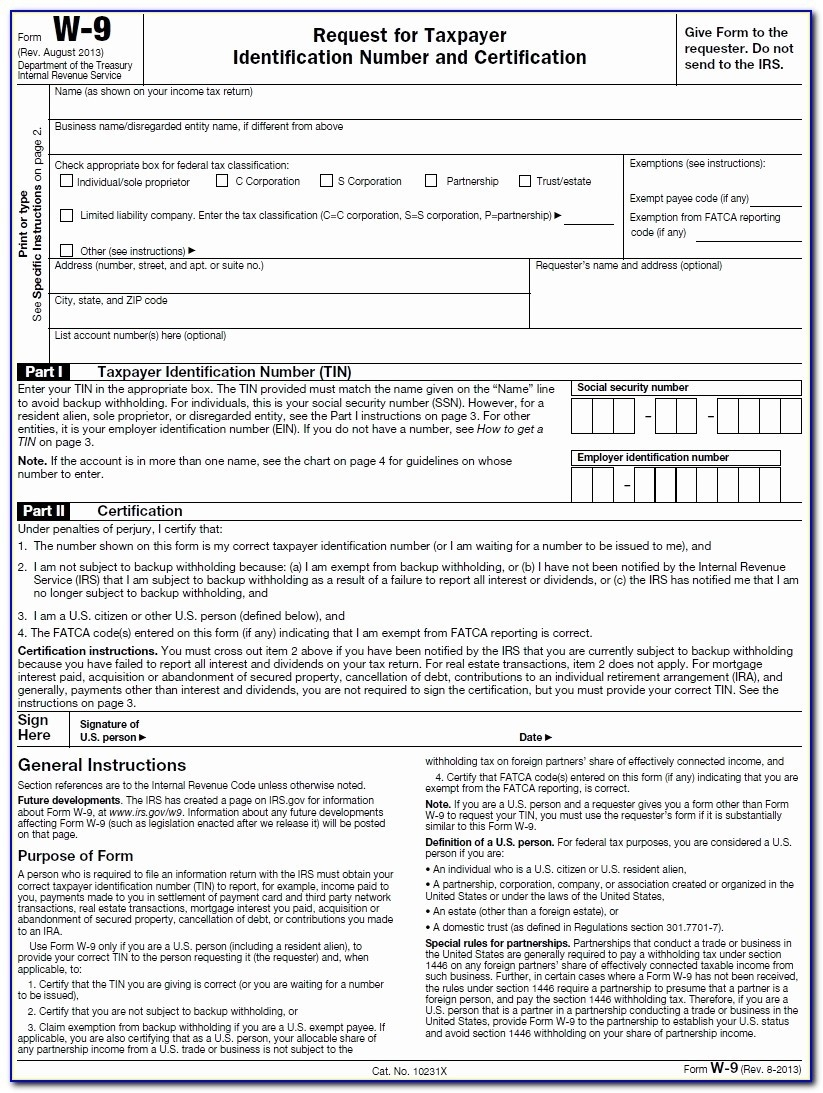 W 9 Tax Form Irs 9/tax Id Information Instructions-Blank W 9 Forms Printable 2020 Irs