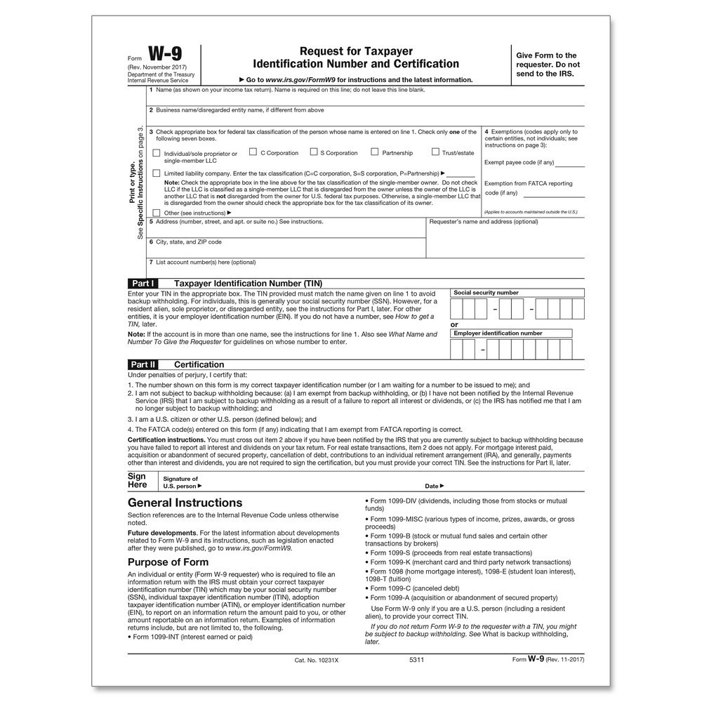 W9 Payer's Request For Tax Identification Number Cut Sheet (200 Forms/pack)-W9 Blank Form For Louisiana 2020