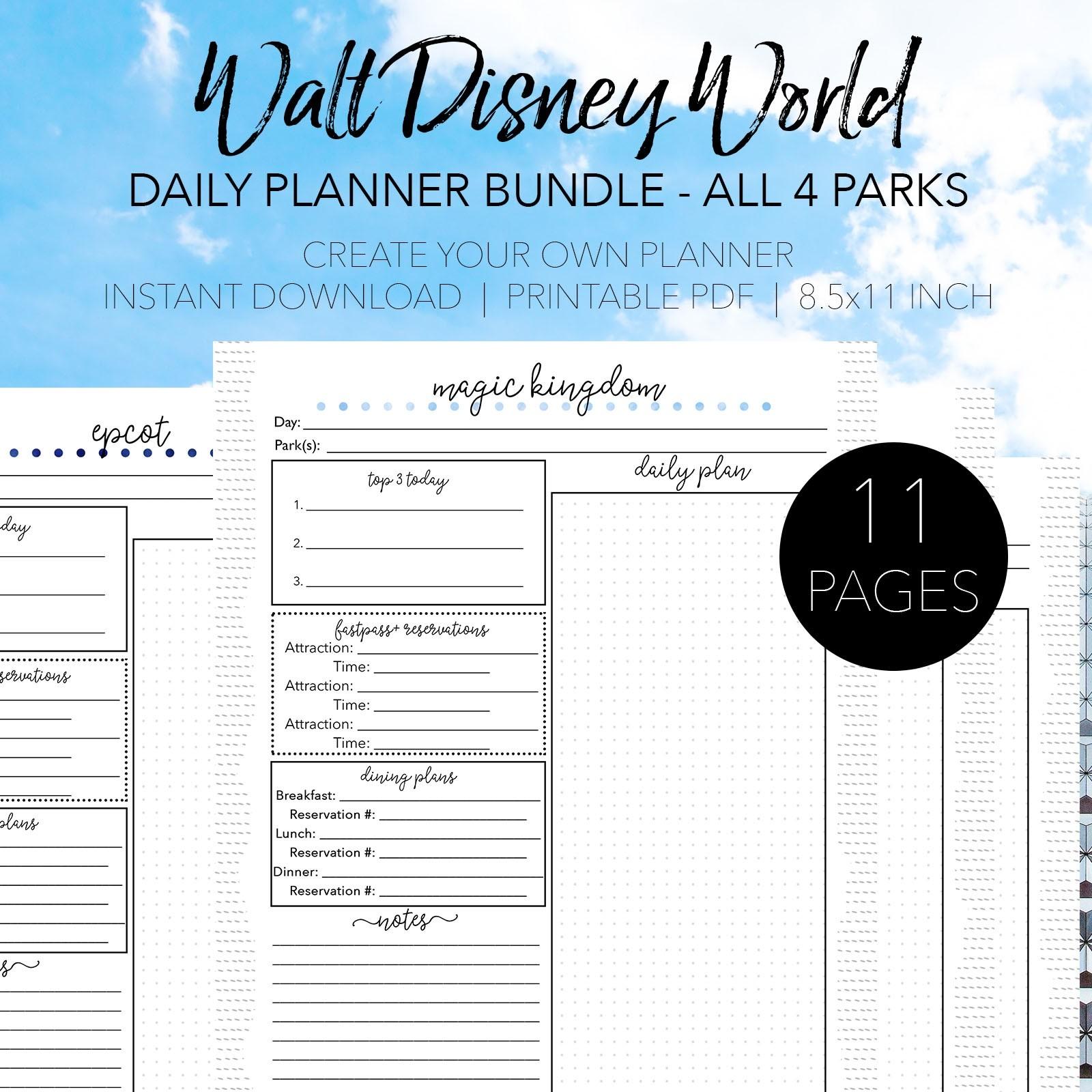 Walt Disney World Daily Planners-Custom Disney World Itenerary Template