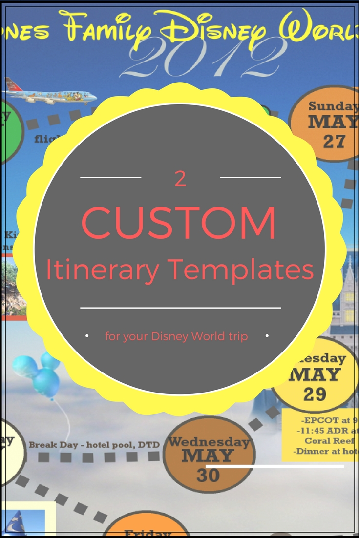 Wdw Itinerary Templates - Free & Printable - Available In-Custom Disney World Itenerary Template
