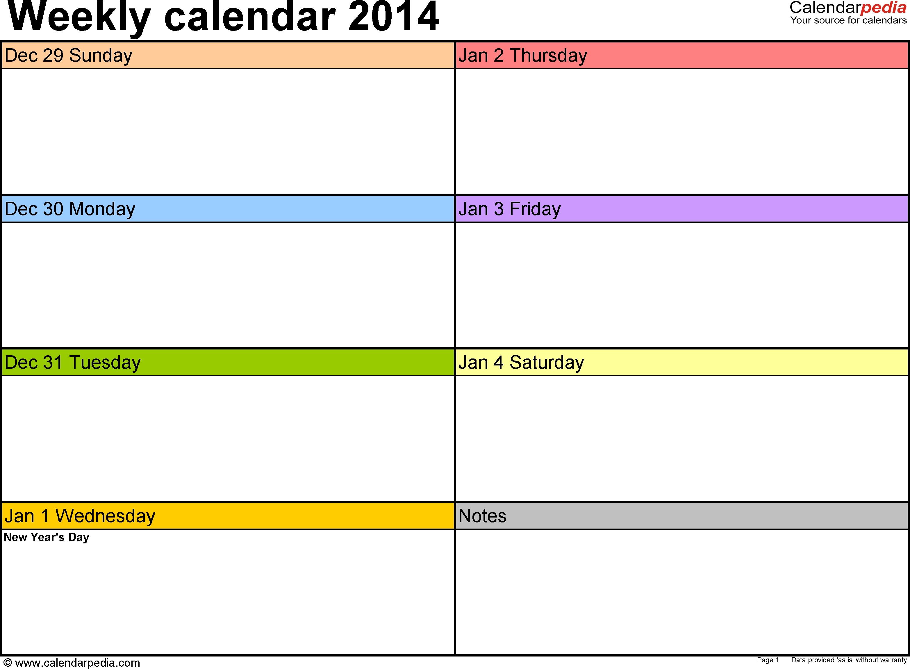 Weekly Calendar 2014 For Pdf - 4 Free Printable Templates-Printable 2 Week Blank Calendar Template