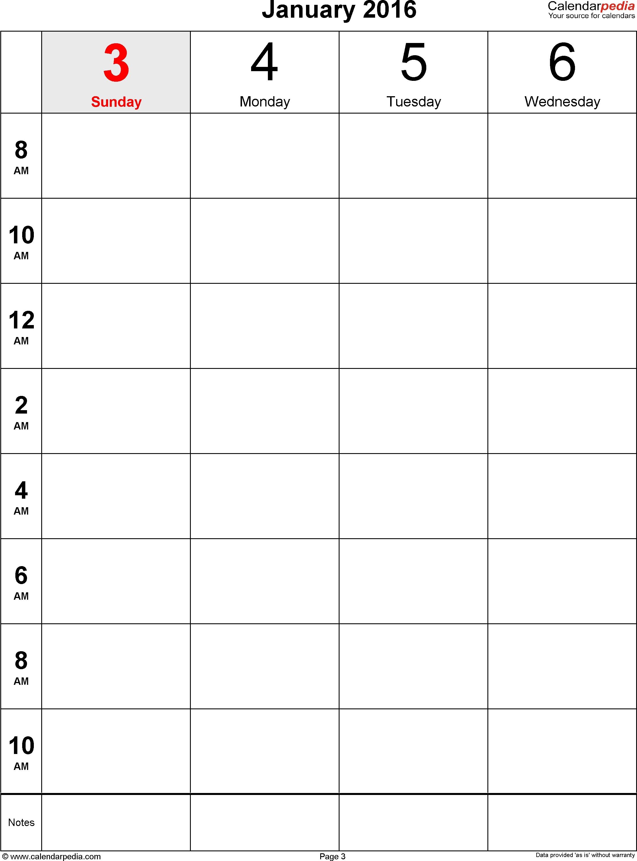 Weekly Calendar 2016 For Word - 12 Free Printable Templates-1 Week Blank Calendar Printable