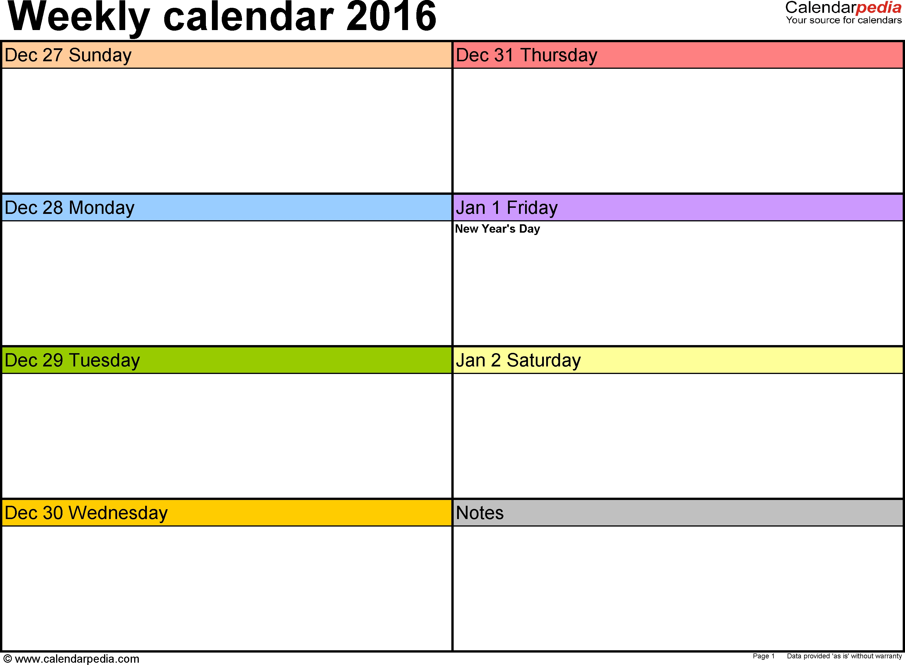Weekly Calendar 2016: Template For Word Version 2, Landscape-One Week Monday Through Friday Calendar Template